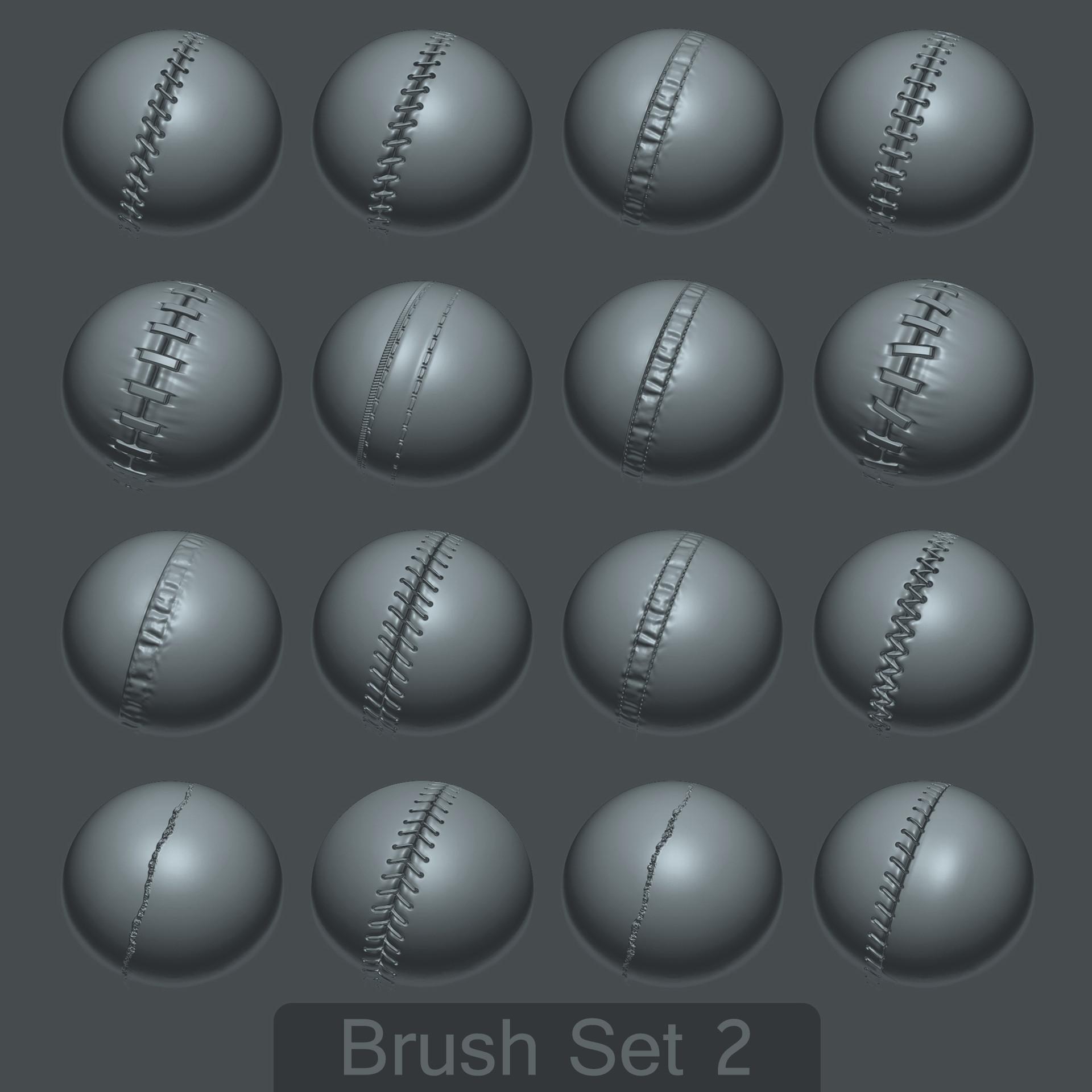 ArtStation - 16 Custom Seam/Stitch brushes for zBrush SET #2