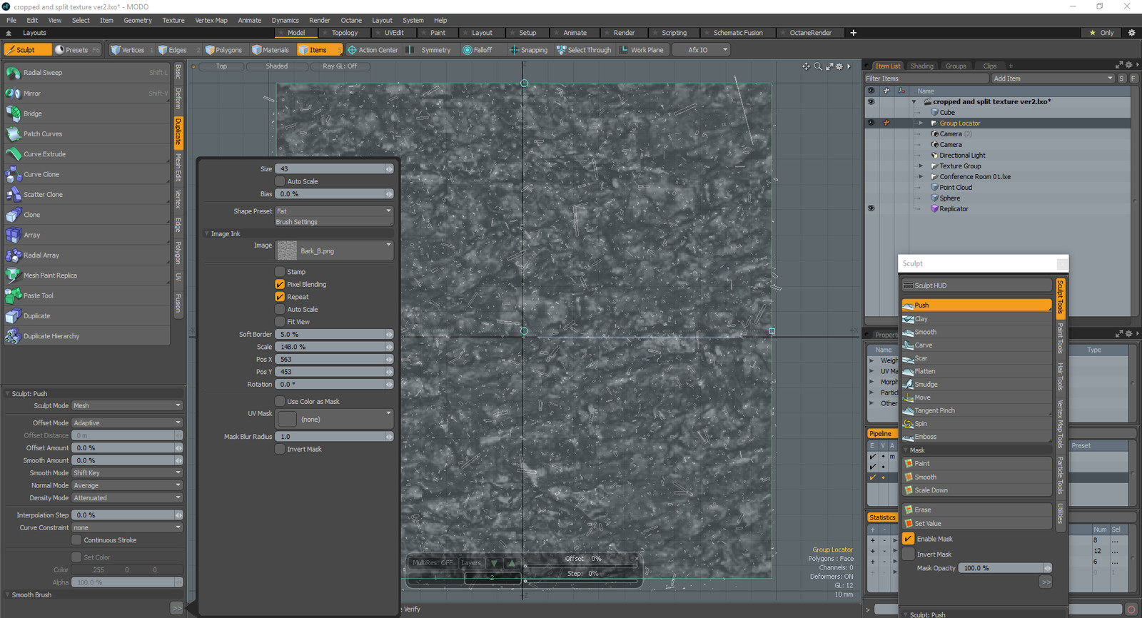 We have 2d dust curves but they need depth. So I use push tool from sculpt tools of modo. I use a noise map to push some of the vertices of the curves. 