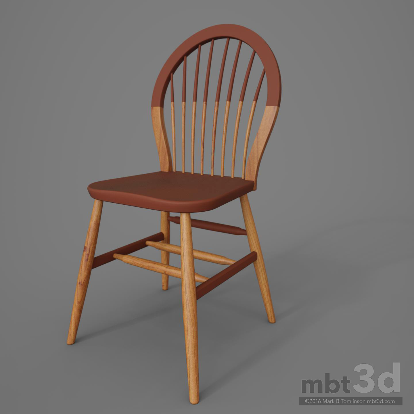 Round Back Wooden Chair Red