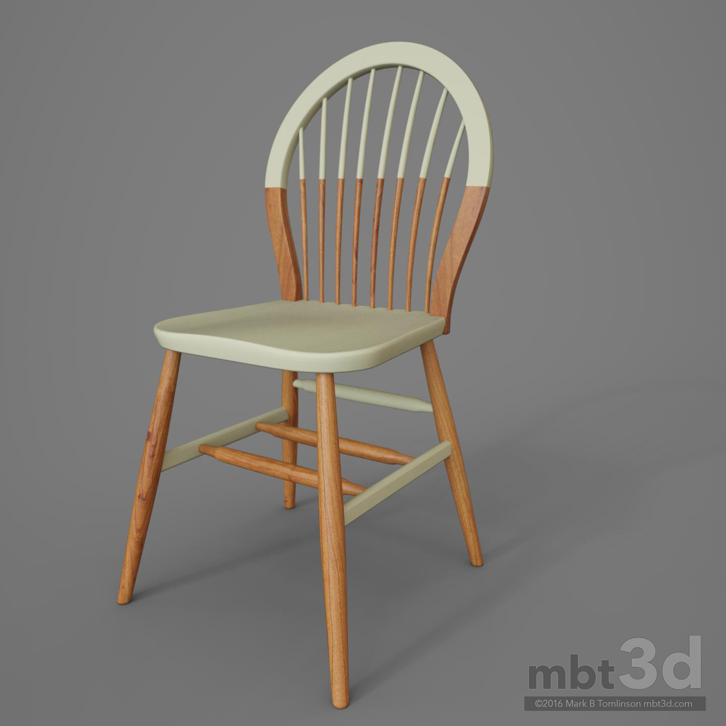 Round Back Wooden Chair White
