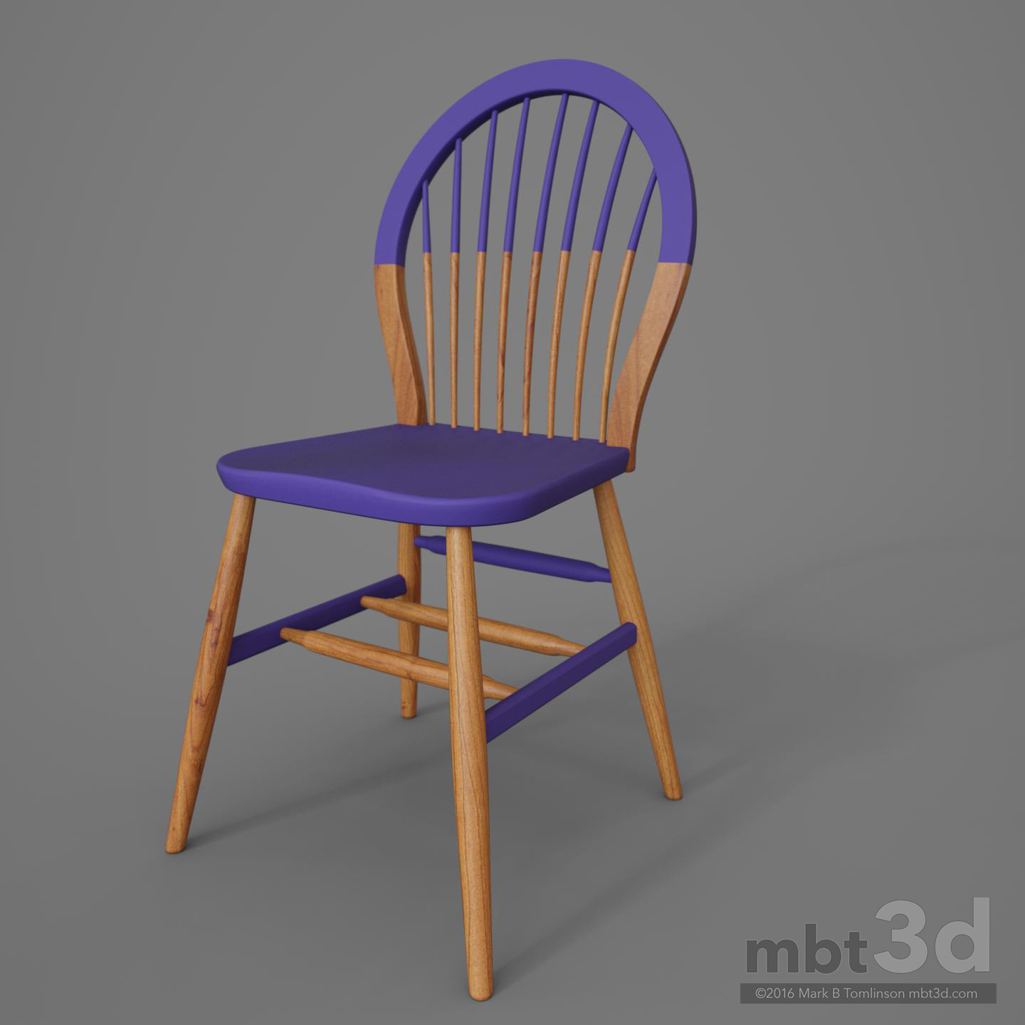 Round Back Wooden Chair Purple