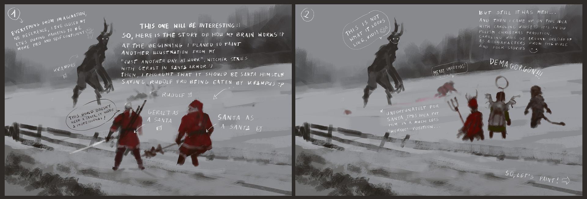 Jakub rozalski santa vs krampus process1