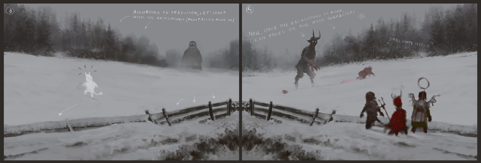 Jakub rozalski santa vs krampus process2