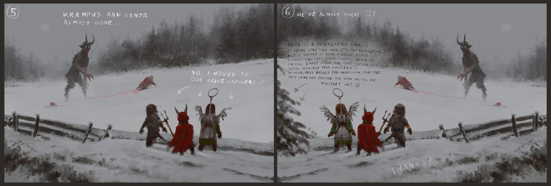 Jakub rozalski santa vs krampus process3