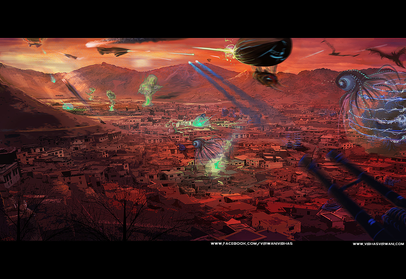 Vibhas virwani environment concept art illustration photoshop painting dogfight over port royal by vibhas virwani