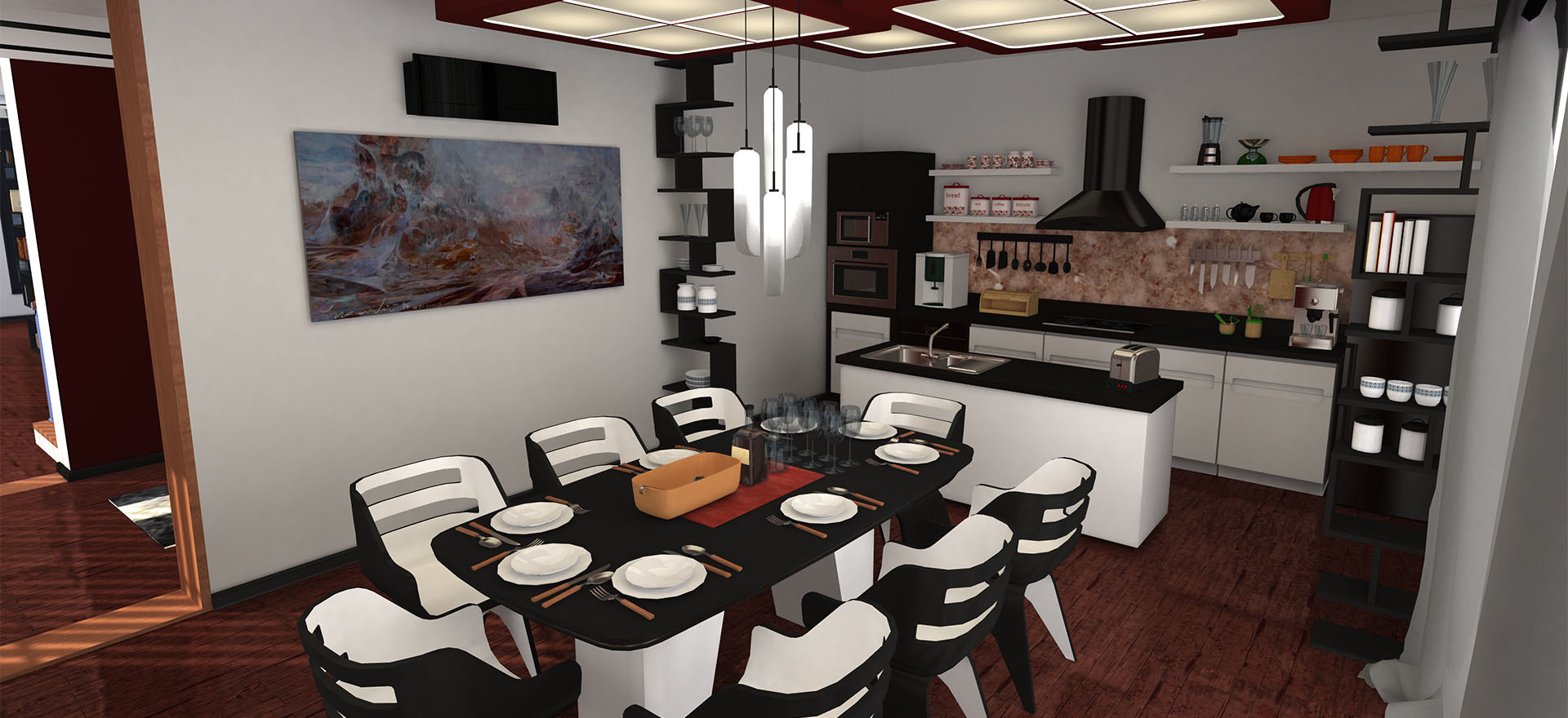 Kitchen and diningroom