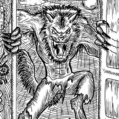 Vera petruk samiramay 25 werewolf engraved fantasy illustration