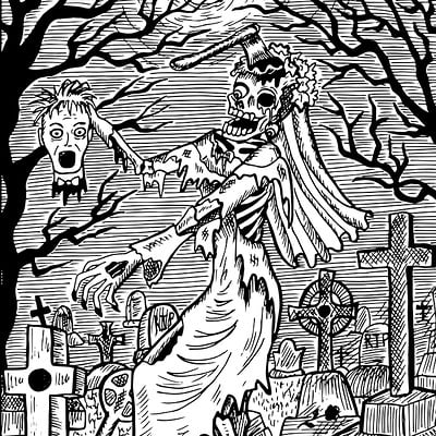 Vera petruk samiramay 27 zombie bride engraved fantasy illustration
