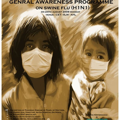 Vibhas virwani swine flu awareness poster art and photo study photoshop painting by vibhas virwani