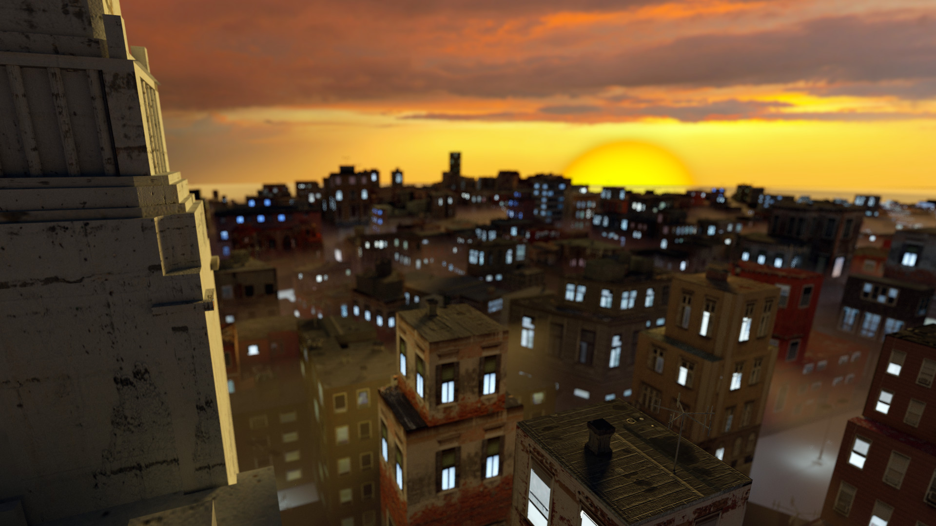 City and Sunset Render