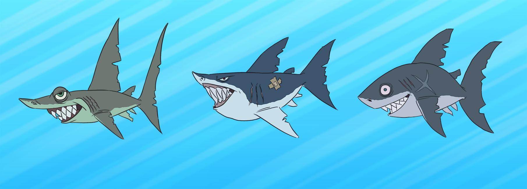 Jose samaniego sketch 3 sharks