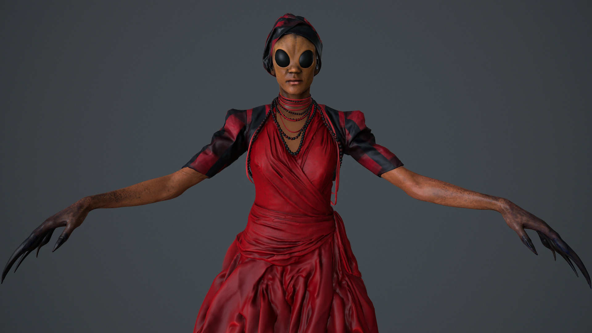 Red dress effect 3d