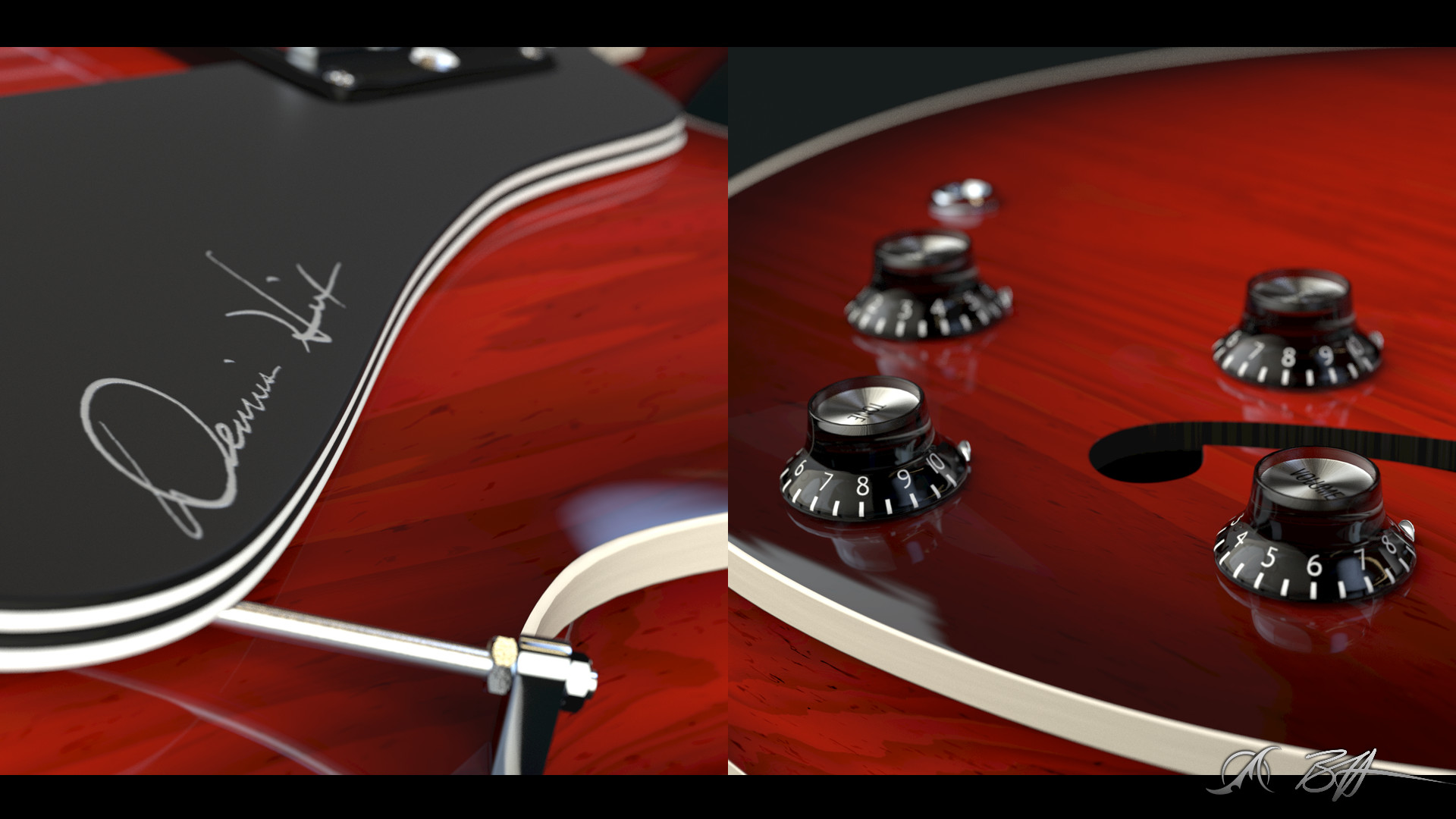 Pick guard and control knob closeups