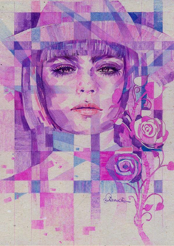 Dot line surface art studio rose