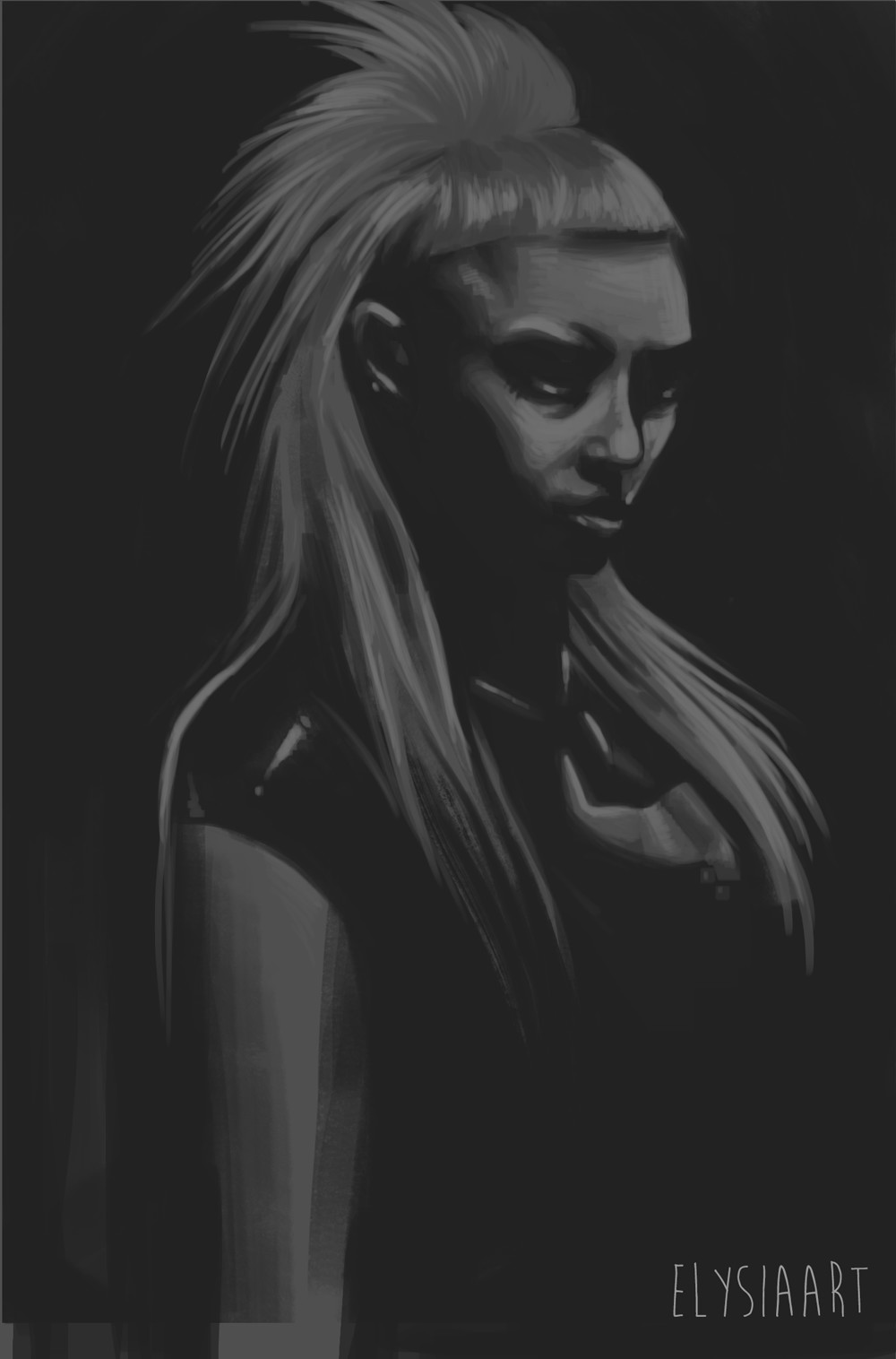 Value study from photograph of Yolandi Visser.