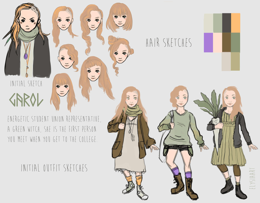 Development sketches for Garol, a green witch.
