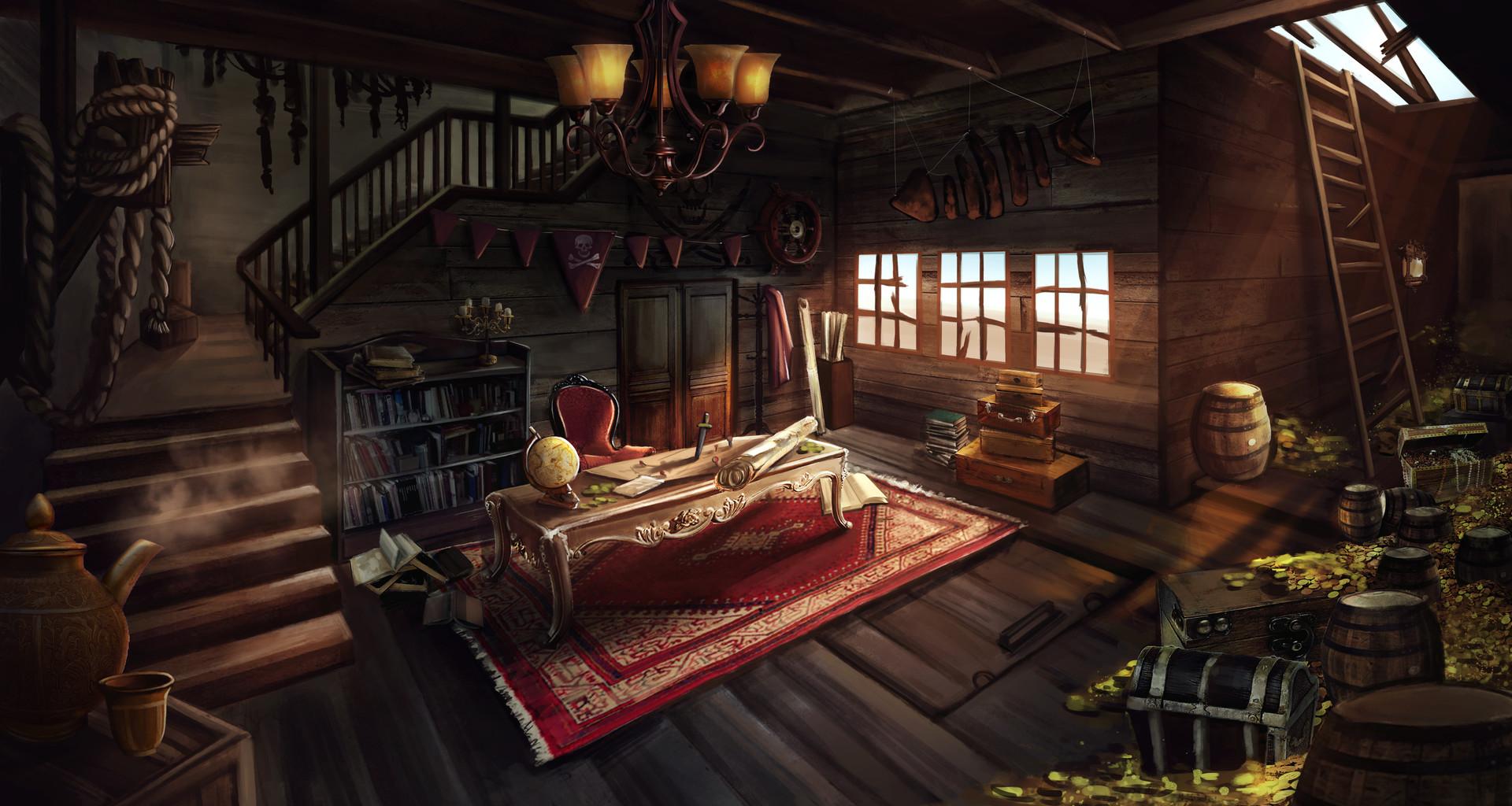 Bedroom Chair Ideas Artstation Pirate Ship Interior Zz Thor