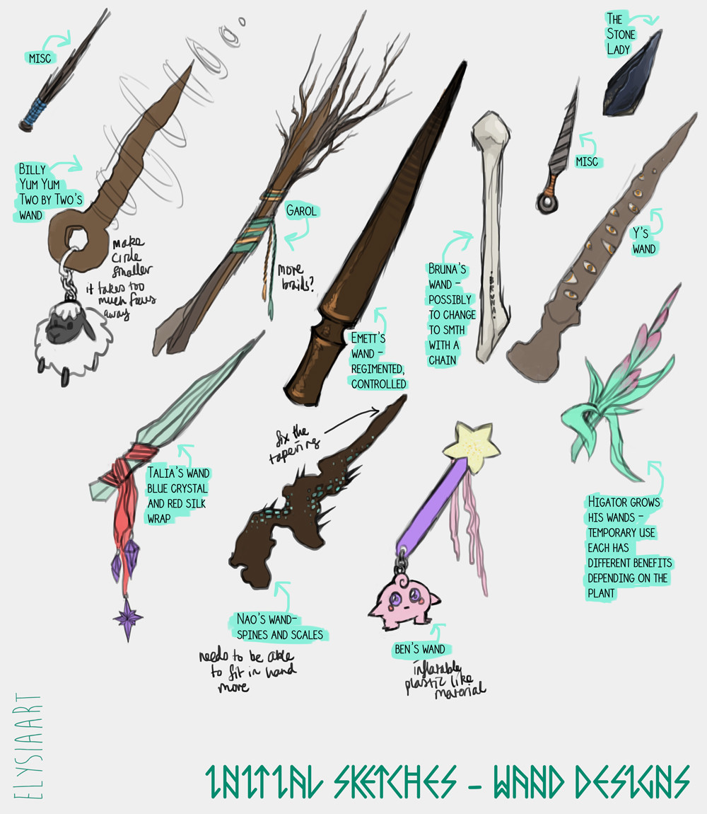 Initial sketches for wizards' wands. To be developed more soon, once more initial character designs are established.