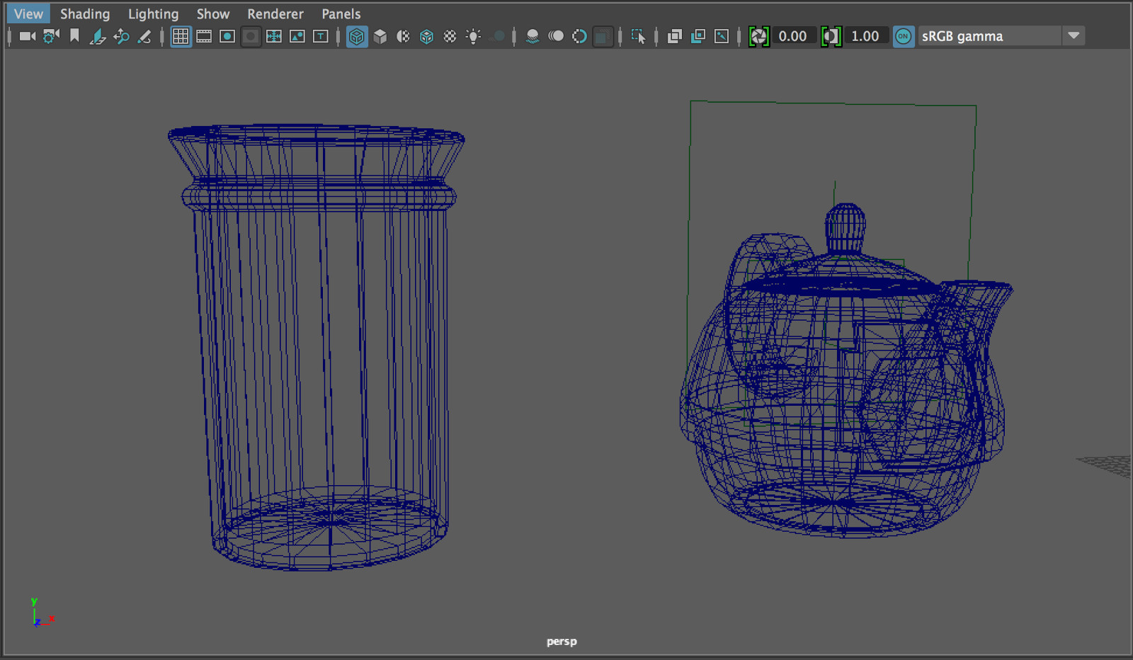 blockout jar and teapot wireframe