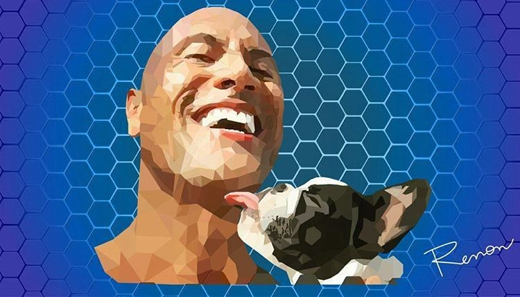 Renon Stefano Dwayne Johnson With His Dog