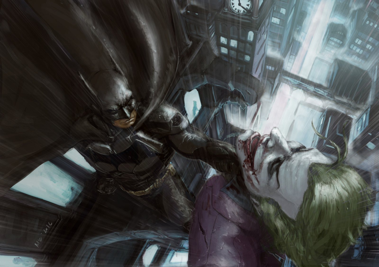 bats and joker in the rain, being all romantic