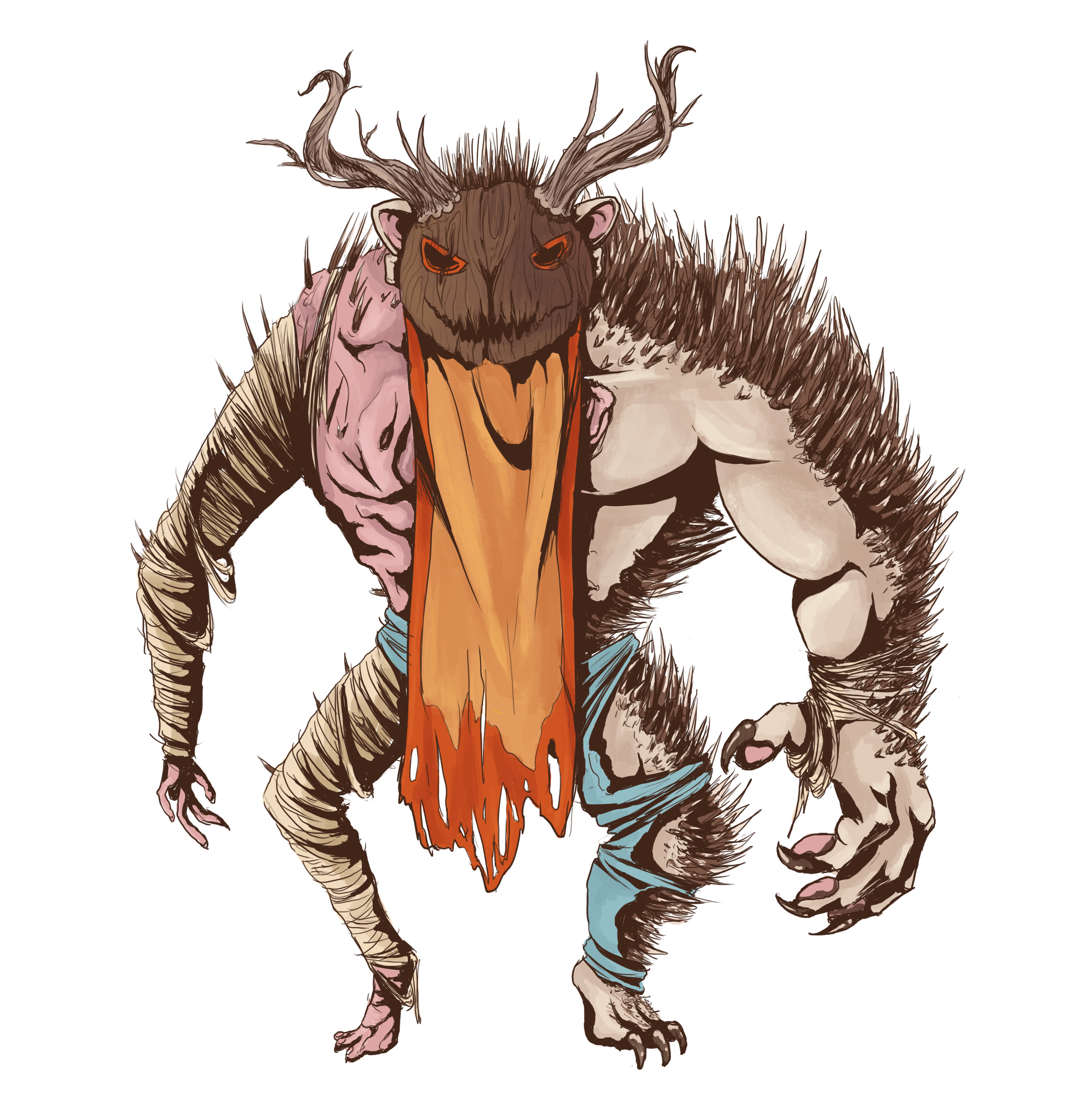 Design for the Beast, the character who's been in the woods so long with his own torments he's becoming more beast than man.
