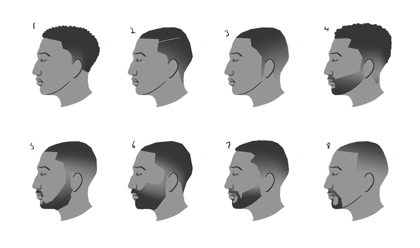 hair and beard study