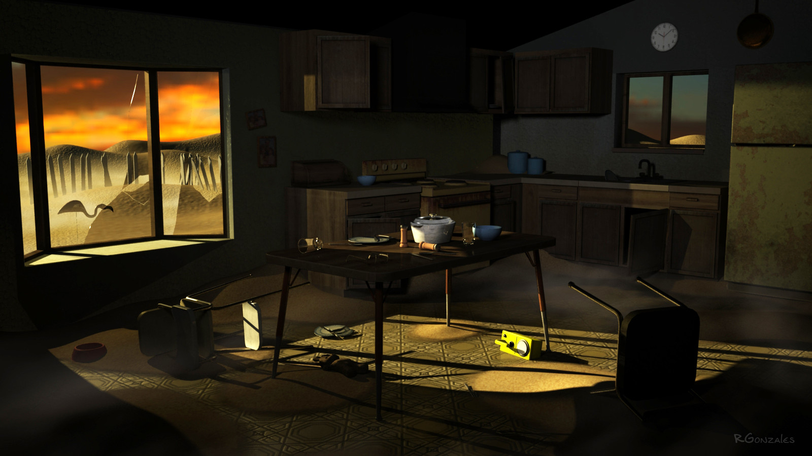 interior environment set with lights and textures
