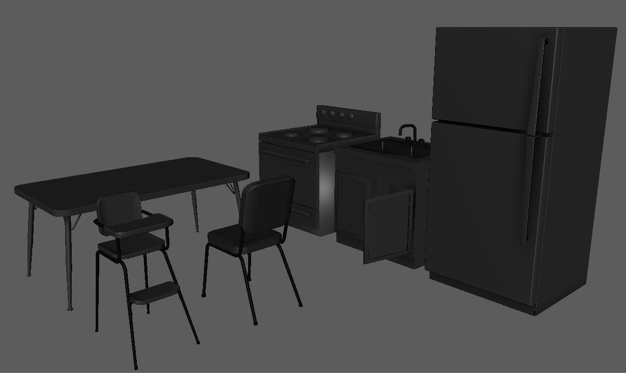 furniture, lowpoly models