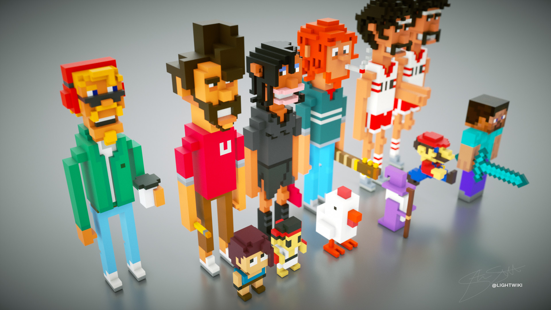 ArtStation - Free MagicaVoxel 12 Characters & Scene including OBJ