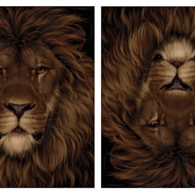 Rene milot lion mouse optical illusion art rene milot