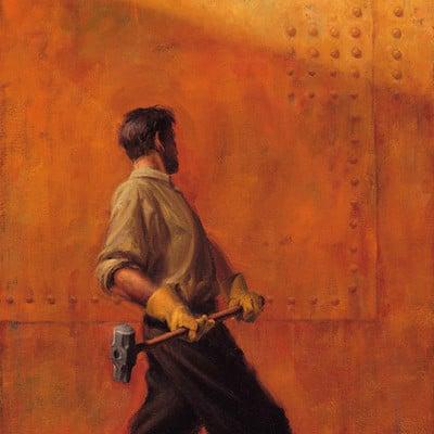 Rene milot sledgehammer rivet rust man painting milot