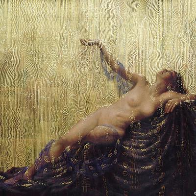 Rene milot die liebe der danae gold rain painting milot