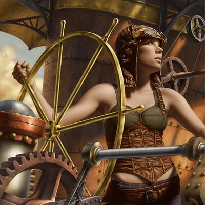 Rene milot the pilot steampunk woman illustration rene milot