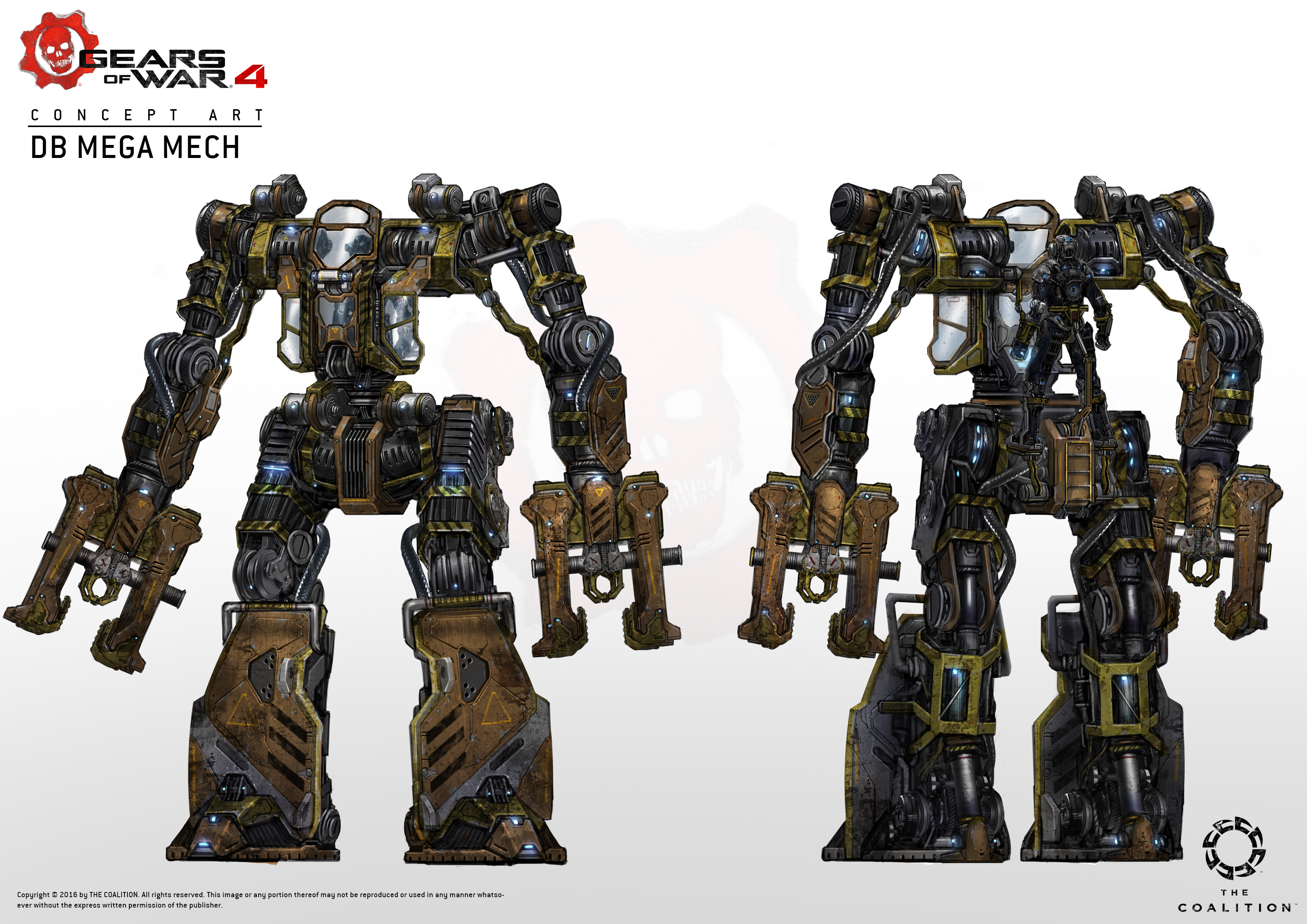 Then decided there would be two variants, construction and military, so I designed one for construction purposes, while giving a nod to the previous silverback exo-suit from previous games.