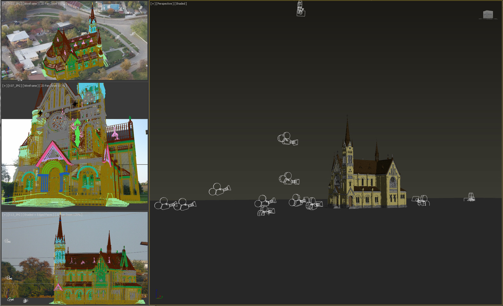 16 cameras from different photos was calibrated in Autodesk ImageModeler. Total 62 photos was used in model creation