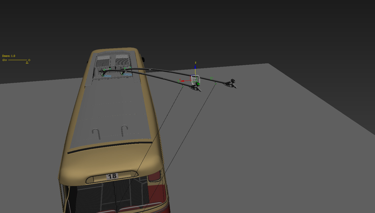 Trolley poles can be rotated in all directions by moving dummy object.