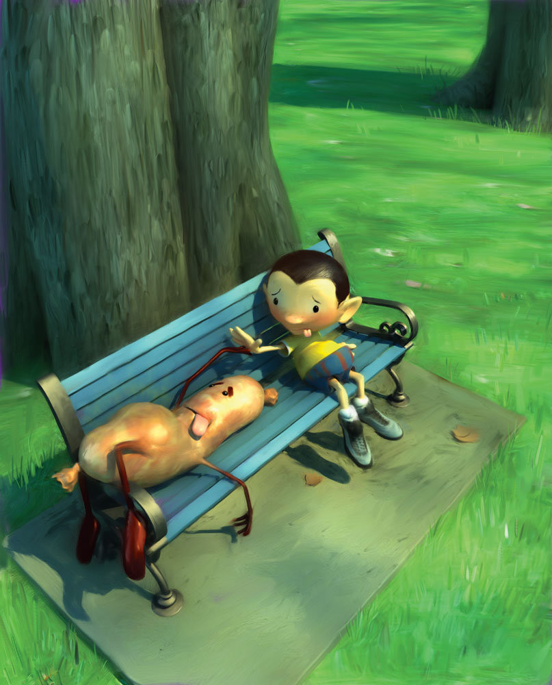 Food Fight - Park bench