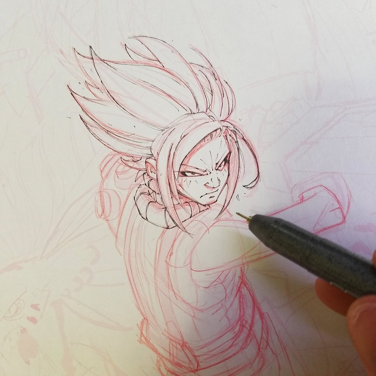 WIP - Drawing Lines with red mechanical lead and Copic Multiliners.