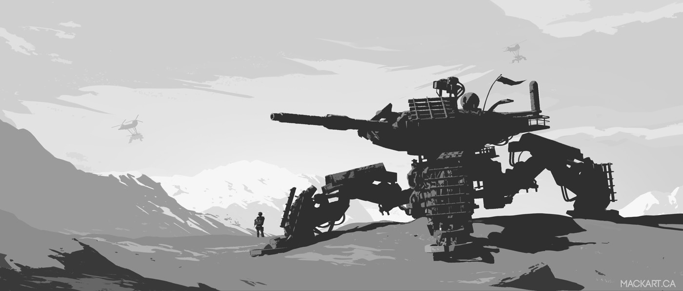 Initial idea for a keyframe of my Auroch design. I was not really feeling it though.