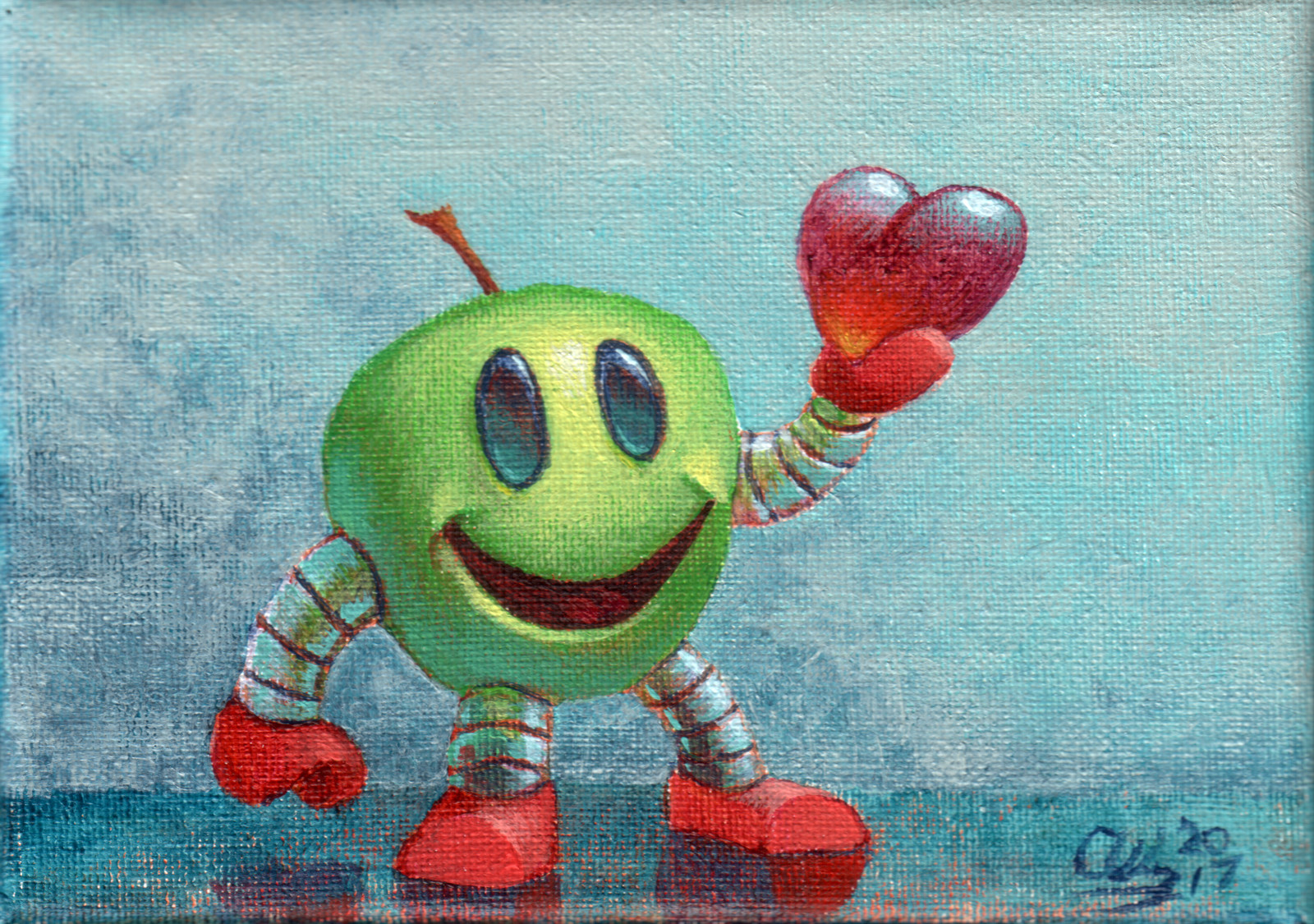 Robot Apple with Sweet Heart