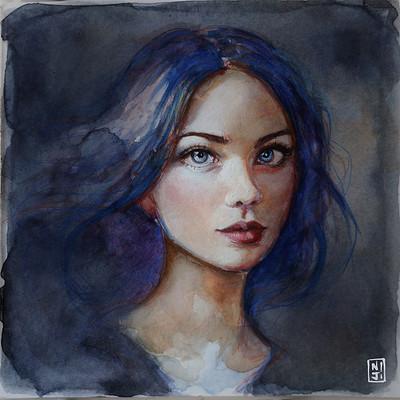 Francesca resta ritratto blu
