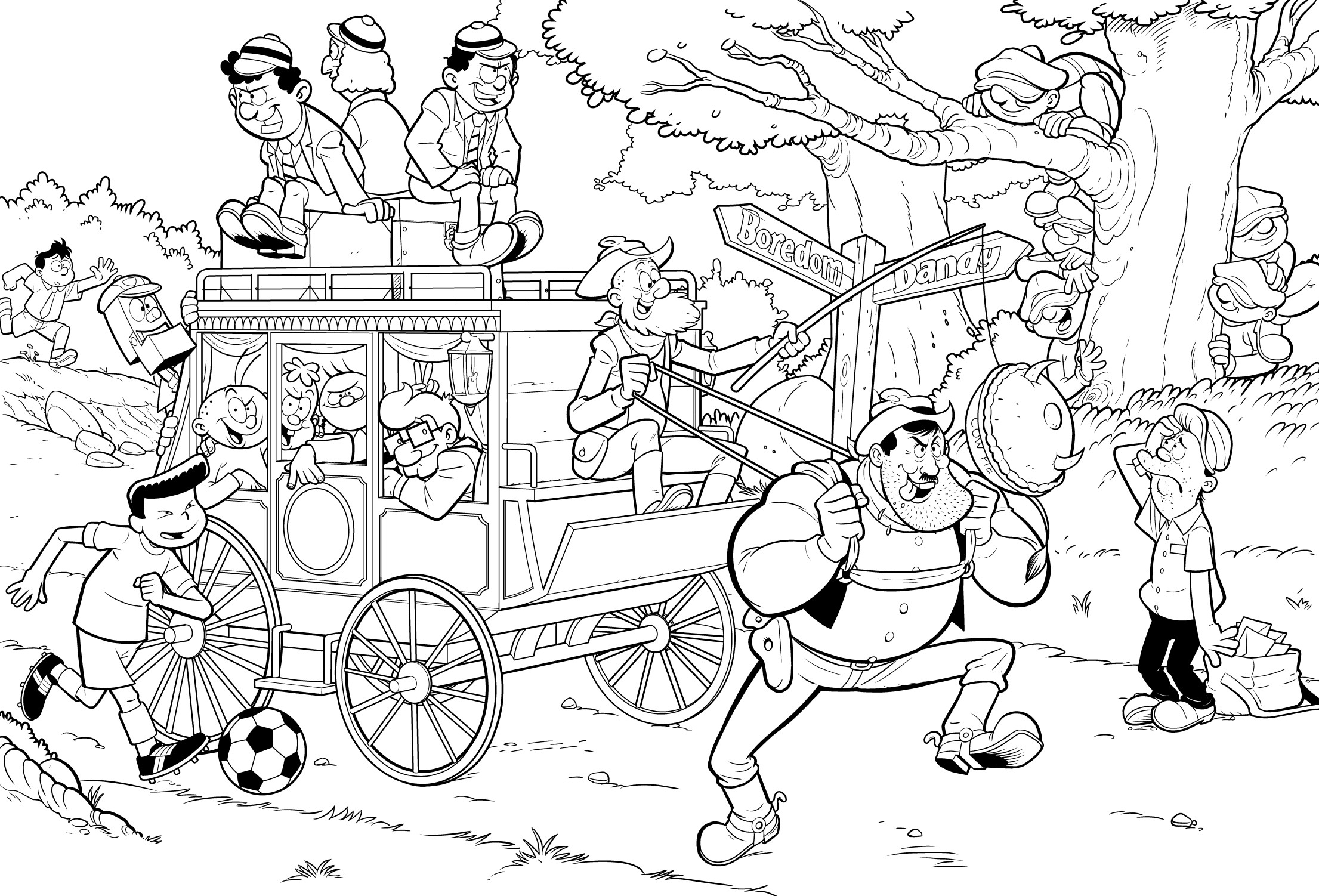 The Dandy Annual - Endpaper 01 : inks (note this is before Desperate Dan's face is fixed)
