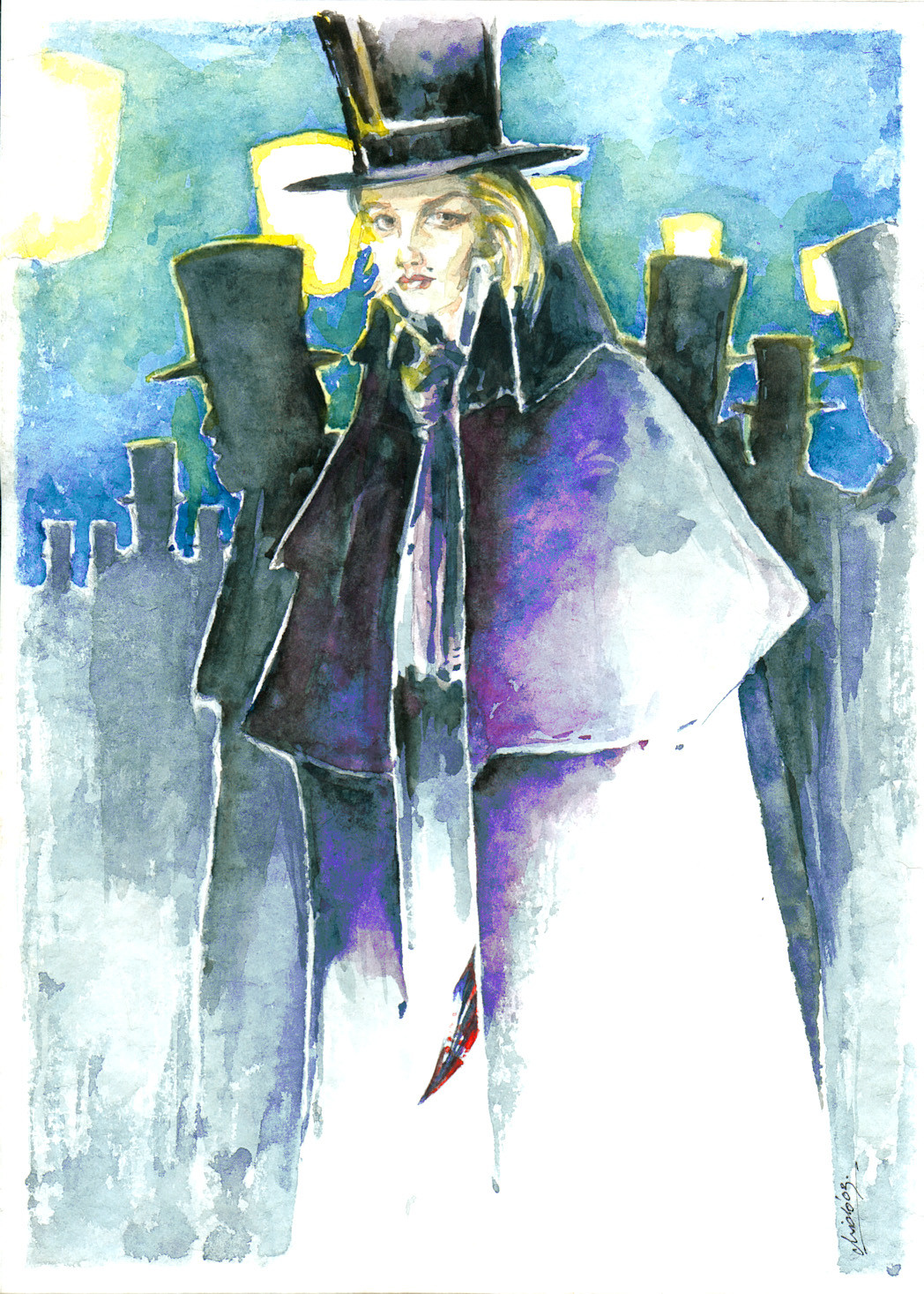 """""""Jacqueline the Ripper"""" - watercolors"""