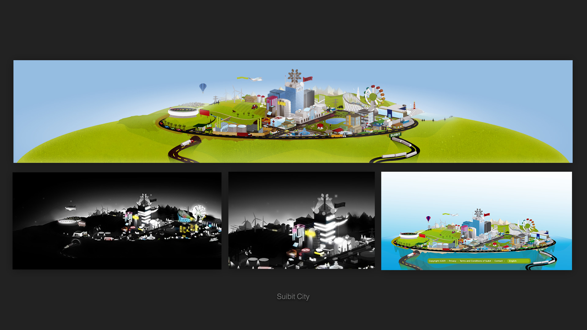 Suibit City was an illustration for the bottom of the page, it switched between day and night and was designed to support advertisement.