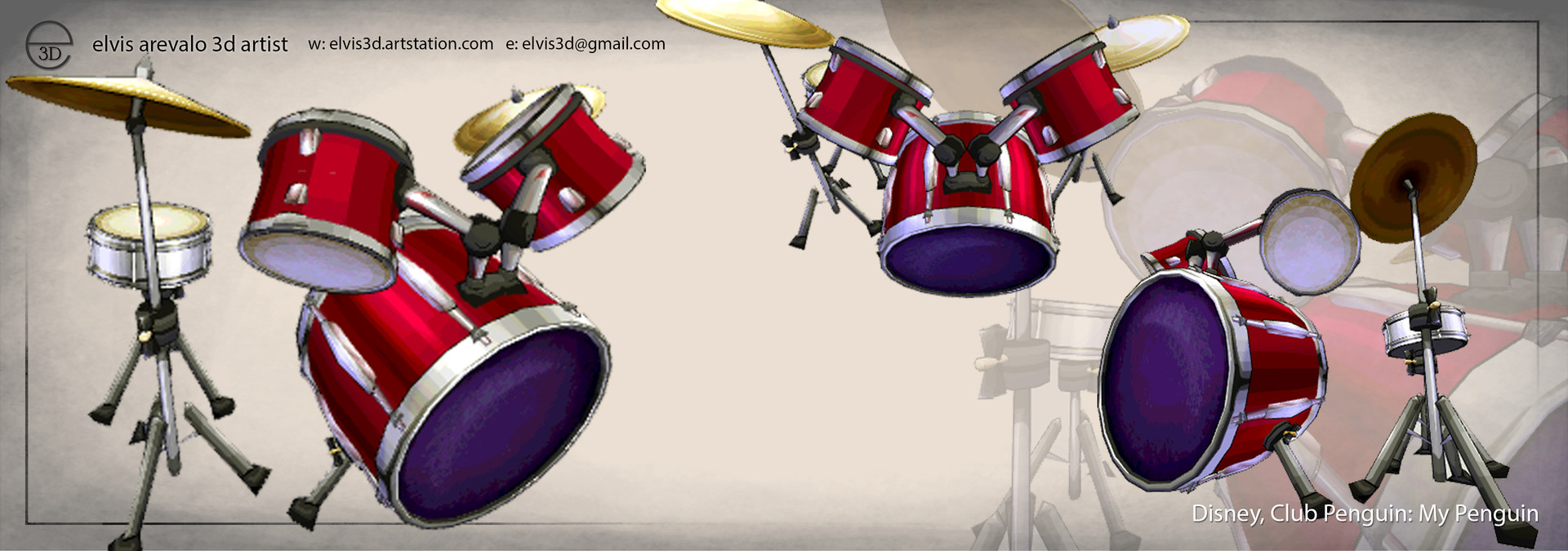 Penguin Drum set Model and texture