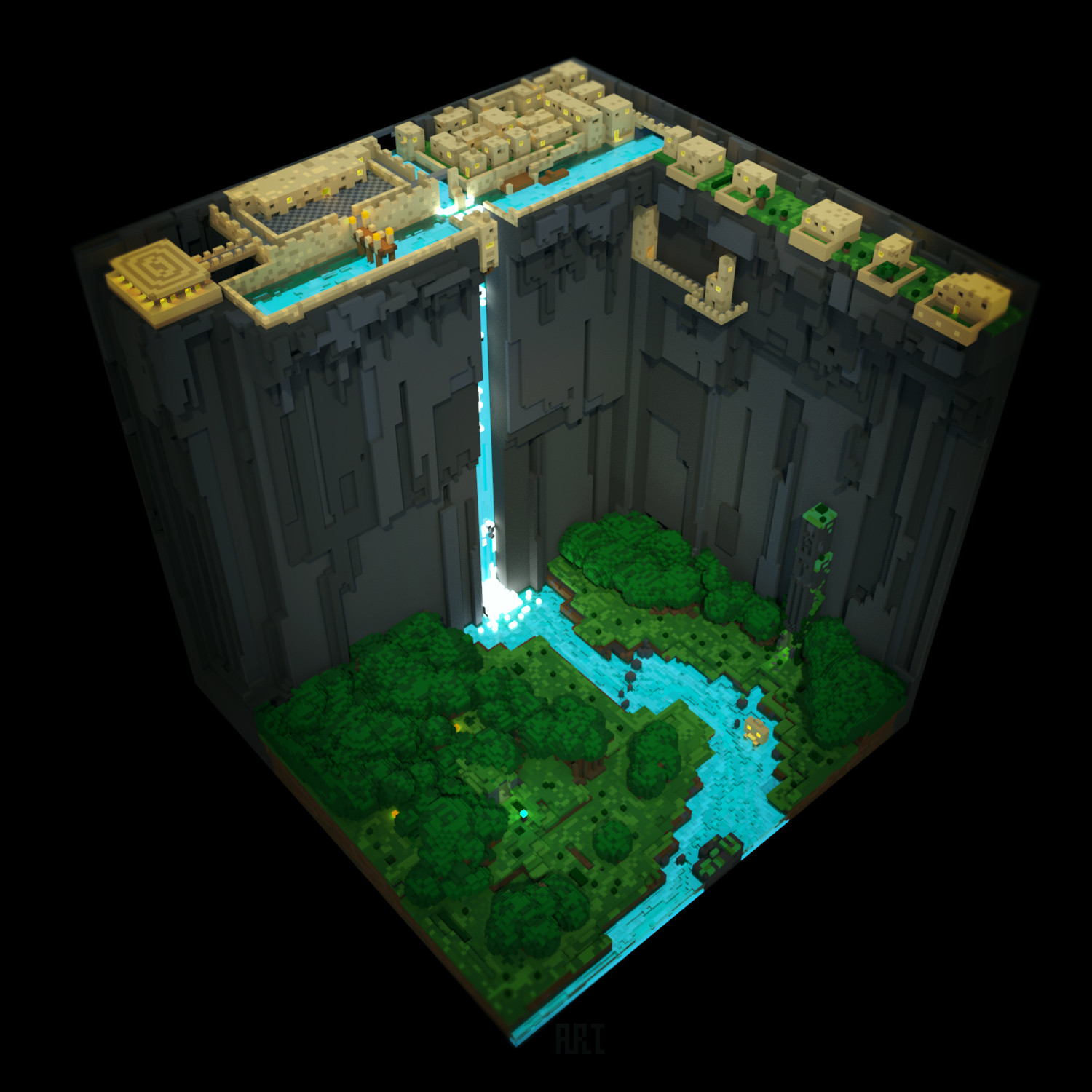 Cliff Face Town Voxel Village