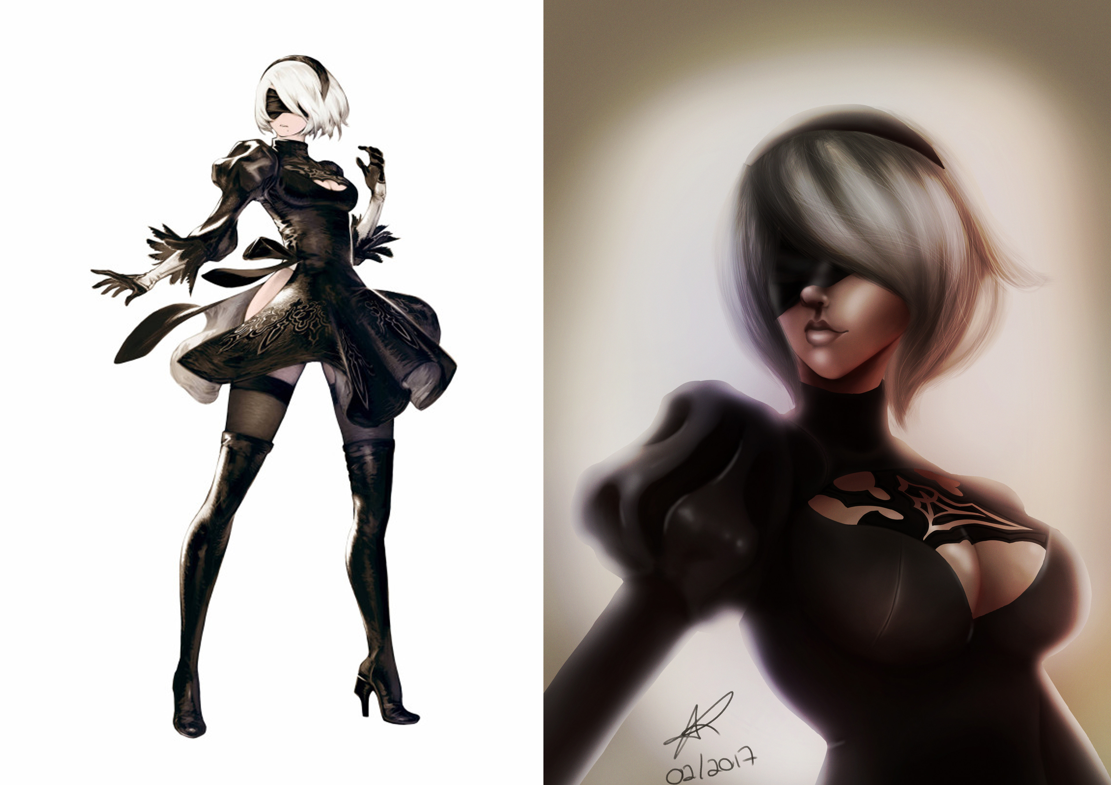 First study  Used an image of Akihiko Yoshida (left) as reference for my first sketch.