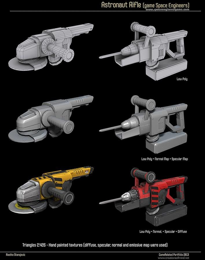 Astronaut tools from game Space Engineers. Hand painted textures. Tris: 2.426 (c) 2013