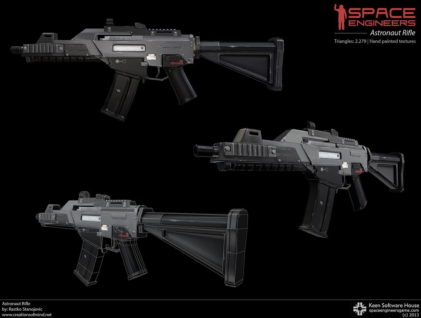Astronaut rifle from game Space Engineers. Hand painted textures. Tris: 2.279 (c) 2013